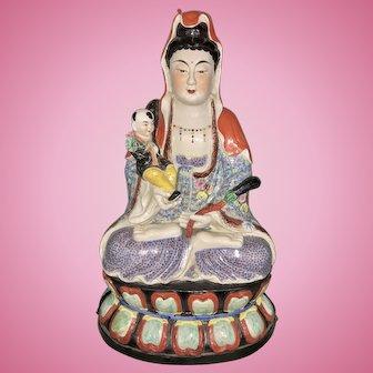 Vintage Huge Chinese Porcelain Rose Famille Kwan Yin On Lotus Base W Boy Marked