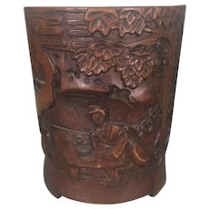 Vintage Chinese Bamboo Wood Carved Footed Brush Pot Scholar Pine Trees
