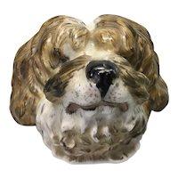 Old English European Porcelain Sheepdog Dog Porcelain Plaque Cup