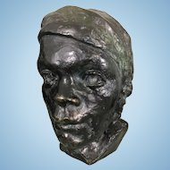 Mid Century Modern Bronze Bust Sculpture Black Or Male Female Signed Dated 1968