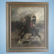Wilfrid Constant Beauquesne French Military Battle Scene Oil Painting On Canvas