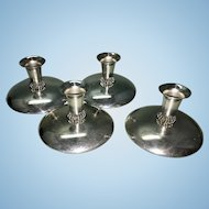 4 Hans Jensen Silver Plate Modernist Candle Holders Danish Modern Pierced