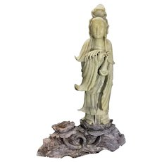 Old Chinese Soapstone Stone Sculpture Guanyin Kwanyin Holding Bottle Vase Lotus Blossom