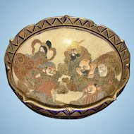 Antique Japanese Satsuma Pottery Bowl W 7 Gods Meiji Cobalt Gilt Signed