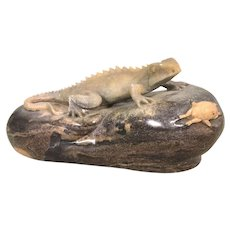 Ronald Stevens Carved Stone Lizard Gecko & Crab On Rock
