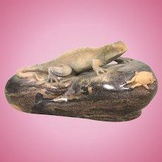 Ronald Stevens Carved Stone Lizard Gecko & Crab On Rock