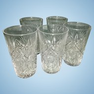 5 Old ABP American Brilliant Pattern Cut Glass Juice Glasses