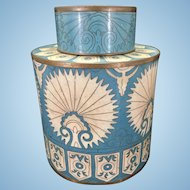 Fabienne Jouvin Paris France Cloisonne Enamel Copper Peacock Tea Caddy Turquoise