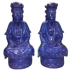 Pr Antique Chinese Blue Monochrome Porcelain Gaunyin Kwan Yin On Lotus Throne