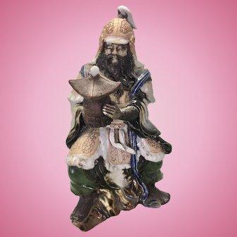 Old Japanese Buddhist Deity God Bishamonten Bishamon Stoneware Statue