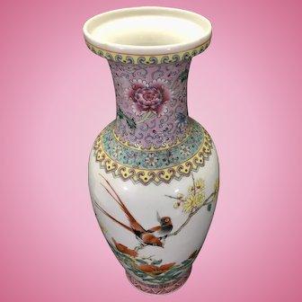 Early-Mid 20th C Chinese Porcelain Rose Famille Vase Qianlong Mark Birds Poem