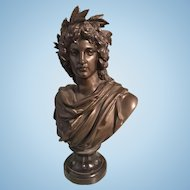 Albert E Carrier Belleuse Bronze Bust Sculpture Young Virgil Ancient Roman Poet