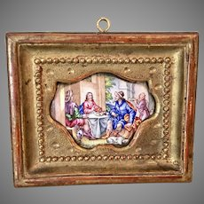 Antique Viennese Enamel Miniature Picture Portrait Gilt Frame Jesus Breaking Bread At Table
