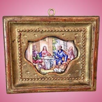 Antique Viennese Enamel Miniature Picture Portrait Gilt Frame Jesus Breaking Bread At Table