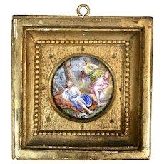 Antique Viennese Enamel Miniature Picture Portrait Gilt Frame Goddess Selene W Endymion