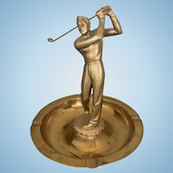 Vintage 1943 Brass Metal Golfer Golf Ashtray Trophy