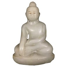 Old Alabaster Stone Carved Seated Asian Buddha Sculpture