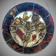 Antique European Stained Glass Leaded Coat Of Arms Sun Catcher