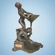 Georg Leykauf Metal Pewter Candle Matchbox Holder Art Nouveau Nude