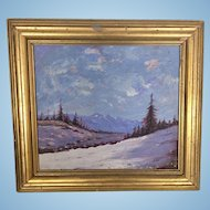Vintage Plein Air Winter Mountain Landscape Oil Painting H Thomson Signed