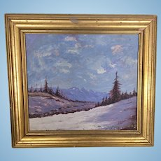 Vintage Plein Air Winter Mountain Landscape Oil Painting H Thomson Signed