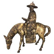 Vintage Japanese Gilt Bronze Metal Scholar Man On Horse Sculpture Japan
