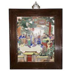 Vintage Signed Chinese Porcelain Framed Plaque Dream Of The Red Chamber Ladies