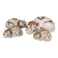 Lot 4 Vintage Japanese Porcelain Kutani Cat Group Kitten