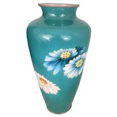 Japanese Ando Jubei Wire Enamel Cloisonne Floral Daisies Vase Turquoise Teal