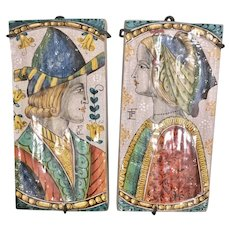 Pr Vintage Vietri Italy Faience Tin Glaze Terra Cotta Ceramic Tile Plaques Man Woman