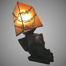 Vintage Terry Stringer Bronze Cubist Sculptural Wall Sconce Lamp 1983