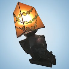 Vintage Terry Stringer Bronze Cubist Sculptural Wall Sconce Lamp 1983