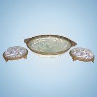 Art Deco Era French Opalescent Glass Ormolu Centerpiece Bowl W 2 Candle Holders Garniture Set