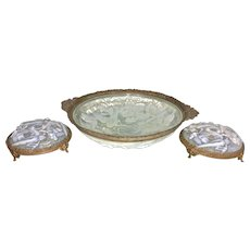 Art Deco Era French Opalescent Glass Ormolu Centerpiece Bowl W 2 Candle Holders Garniture Set