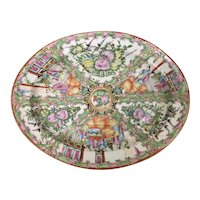 Antique Chinese Porcelain Rose Medallion Enamel Famille Canton Oval Platter Export