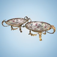 Pr French Sevres Bronze Ormolu Mounted Centerpiece Chinese Porcelain Bowls Dish Chinoiserie