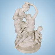 Sevres France Bisque Porcelain Group Neo Classical Couple W Cherub
