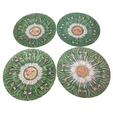 4 Vintage Chinese Porcelain Famille Verte Cabbage Leaf Butterfly Plate