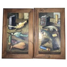 Pr Signed Contin Framed Vintage Art Pottery Ceramic Tile Plaques Italy Game Birds Hunt Scene