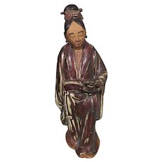 Antique Chinese Shiwan Porcelain Pottery Woman Figurine Oxblood Celadon Glaze CHINA