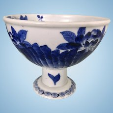 Antique Asian Japanese Blue & White Porcelain Compote Stem Bowl