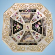 Antique KPM Germany Porcelain Octagonal Dish Gilt Floral Port Scenes Hand Painted