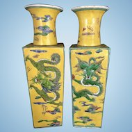 Pr Vintage Kangxi Marked Chinese Porcelain Enameled Famille Jaune Square Form Vases Dragons