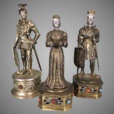 3 Vintage German Sterling Silver Jeweled Royal Figurines Queen King Knight