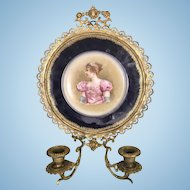 Antique French Gilt Ormolu Candle Wall Sconce W Sevres JP Limoges Porcelain Plate Aristocratic Lady