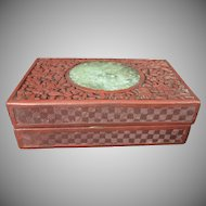 Antique Chinese Floral Cinnabar Lacquer Box W Jade Center