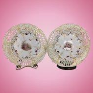 2 Vintage KPM German Porcelain Reticulated Plates Dishes Floral Classical Romantic Couple