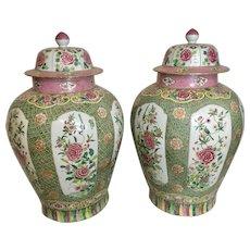 Pr Large Republic Period Chinese Rose Famille Porcelain Enameled Ginger Jars W Lids