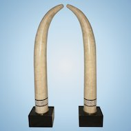 Pr Vintage Maitland Smith Karl Springer Tessellated Stone Faux Elephant Tusks Hollywood Regency