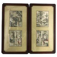 Vintage Pr Framed Chinese Court Garden Scene Paper Silk Panels Bullocks L.A.